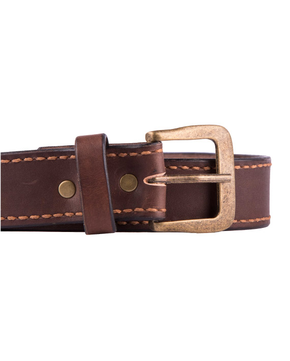 Dark Brown Men's leather belt by Wanderer Handcrafted Leather