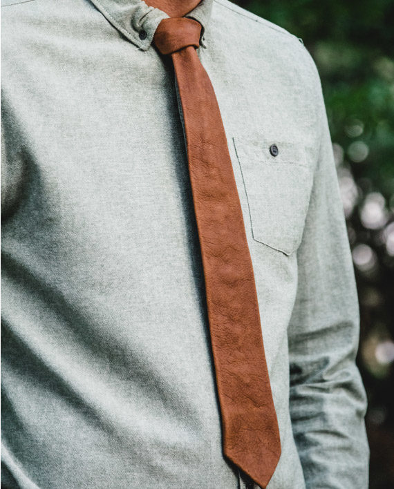 Leather necktie handmade by Wanderer Handcrafted Leather