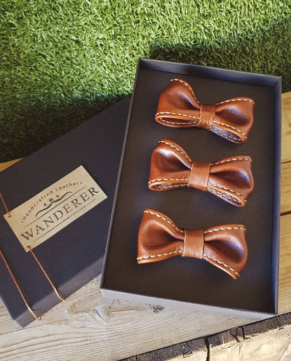 Leather bow tie by Wanderer Handcrafted Leather