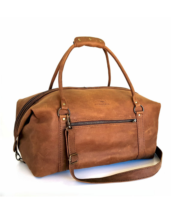 Livingstone Stone leather travelbag by Wanderer Handcrafted Leather