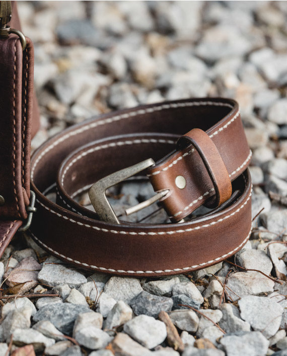 Men's genuine leather belt by Wanderer Handcrafted Leather